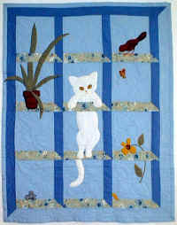 Cat in Window. quilt JPG (125872 bytes)