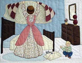 Caroline makes the bed with a new quilt, child playing